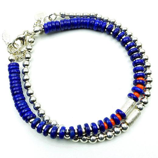 Damen-Armband-Set, dunkelblau, Lapislazuli-Scheiben, Silberperlen 925