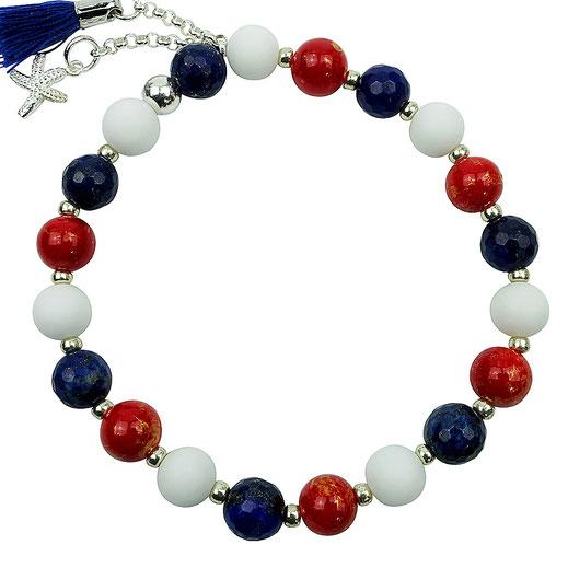 86544623042 Jade weiß, rot, Lapislazuli blau, Seestern Silber 925