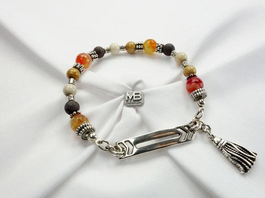 Damen-Armband mit Jadeperlen, Achaten, Mittelsteg und Quaste DQ-Metall, multicolor Naturfarben