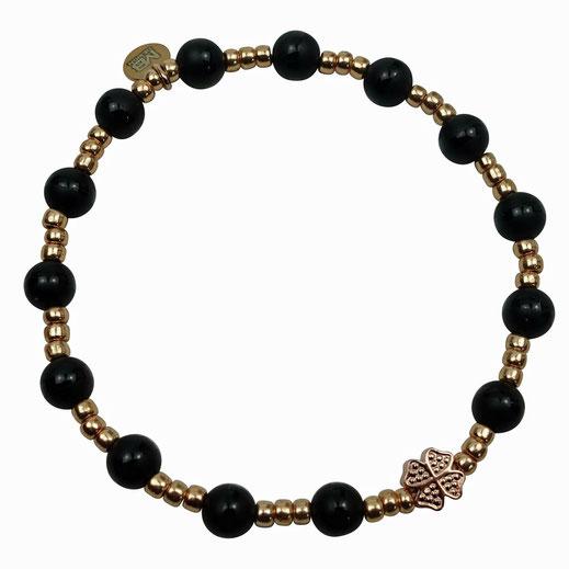 Damen-Armband Onyx mit matten Sterlingsilber-Perlen