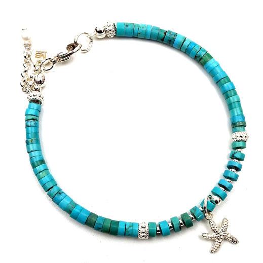 Damen-Armband, echte Türkisscheiben mit Seestern in Silber 925