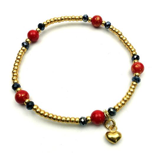 Damenarmband, Rocailles goldfarben, Kristalle blau, Jade rot, Herz Silber 925 24 Karat vergoldet