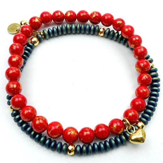 Armband-Set in rot-grün, Jade, Hämatitrondelle, Silber 925 vergoldet