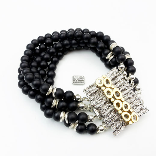 Damen-Armband, exklusiv, Onyx, fünfreihig mit rhodiniertem und vergoldetem Designer-Verschluss