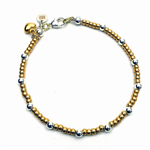 Damenarmband, Rocailles goldfarben, Silberperlen Silber 925, Herz Silber 925 24 Karat vergoldet