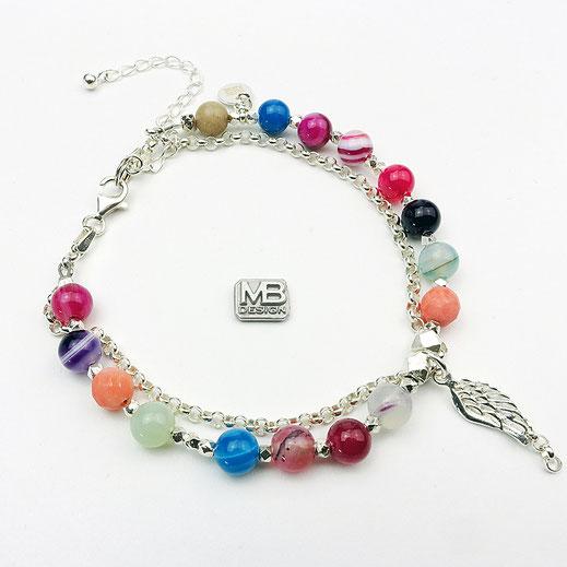 """Damen-Edelsteinarmband aus bunten Achaten und diversen Edelsteinen, doppelreihig mit Silberkette 925 und Anhänger """"Engelsflügel"""""""