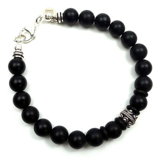 Männer-Armband Onyx mit einer Silber925-Perle