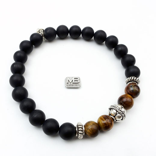 Männer-Onyxarmband mit Tigerauge und Silber925-Perlen