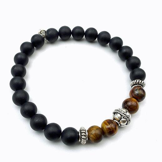 Männer-Onyxarmband mit Tigerauge und Silber 925-Perlen