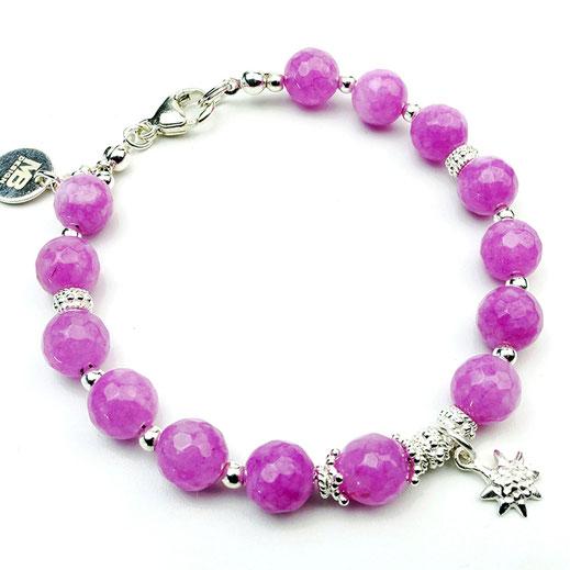 """Damen-Armband Jade pink mit einem """"Blatt""""-Anhänger aus Silber 925"""
