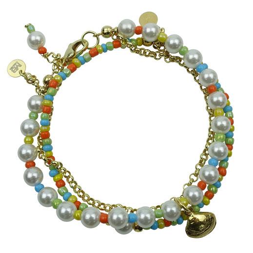 Damen-Armband Set, Muschelkernperlen, Rocailles bunt, Silber 925 vergoldet