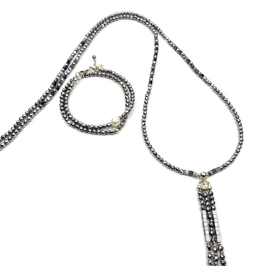 Schmuckset Halskette und Armbänder, Hämatitperlen, Hämatitwürfel, Silber 925