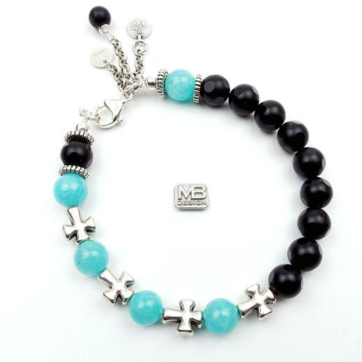 Damen-Armband aus Onyx- und Amazonitperlen mit Kreuzen und einer Quaste aus DQ-Metall
