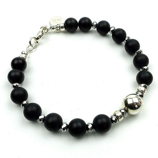 Damen-Armband, Onyx mit Sterlingsilberperlen