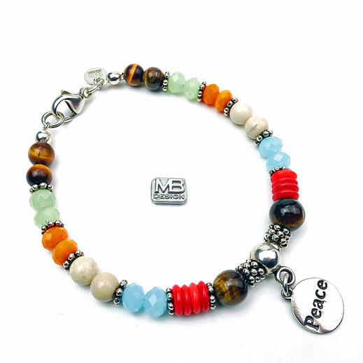 Damen-Armband aus Tigerauge-Perlen, Jadeperlen und Koralleperlen, Peaceanhänger in Silber 925