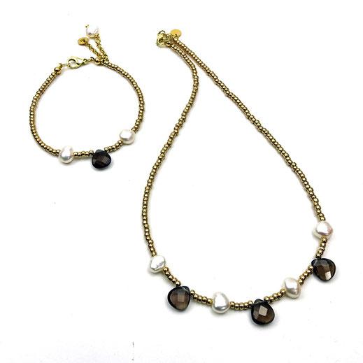 Schmuck-Set Halskette und Armband Rocailles goldfarben, Süßwasserzuchtperlen, Rauchquarztropfen