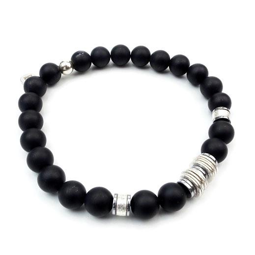 Männer-Onyxarmband, Hämatitscheiben, Silberräder, Silberscheiben