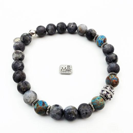 Männer-Armband aus Larvikit mit Herbstjaspisperlen und Silberperlen aus Sterlingsilber (925)