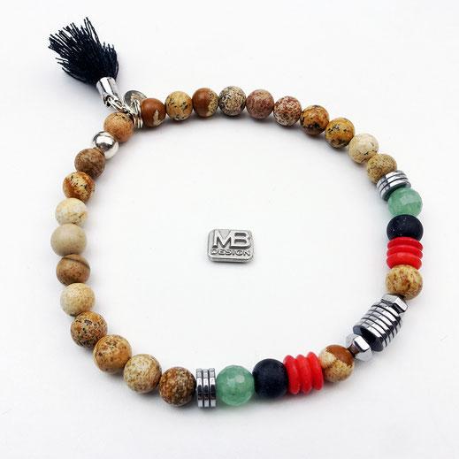 Männer-Armband aus Landschaftsjaspis, Onyx, Korallenscheiben und Aventurinperlen mit Quaste