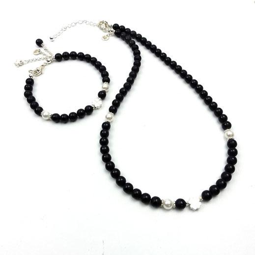Schmuckset Halskette undArmband, Onyx matt, Muschelkernperlen, Glücks-Kleeblatt Silber 925