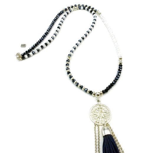 Halskette lang, Kristalle blau-weiß, lange Quaste, Silber 925