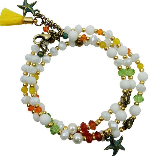 Damen-Armband-Set, Glaskritalle orange-grün-weiß, Zwischenperlen und Anhänger Sterlingsilber