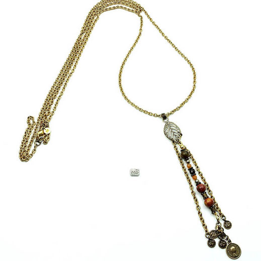 Halskette, Damen, Achate beerenfarben, Kristalle, Hämatit, lange Quaste