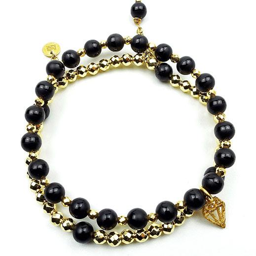 Damen-Armband-Set,Onyx, Hämatitperlen goldfarben, Diamantanhänger Silber 925 vergoldet