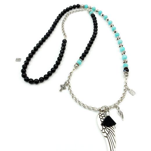 Halskette, Damenhalskette, Onyxperlen matt und glänzend, handgefertigt,Amazonitperlen und DQ-Ketten