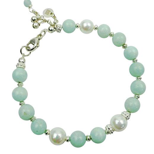 86544622410 Damen-Armband aus Amazonitperlen mit Sterlingslilber, Muschelkernperle
