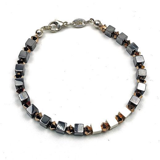 Damen-Armband aus Hämatitwürfeln und Würfel in Silber 925 und Swarovskiperlen