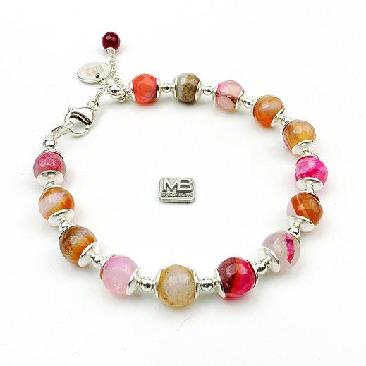 Damen-Armband, Achate rosafarben. Sterlingsilber