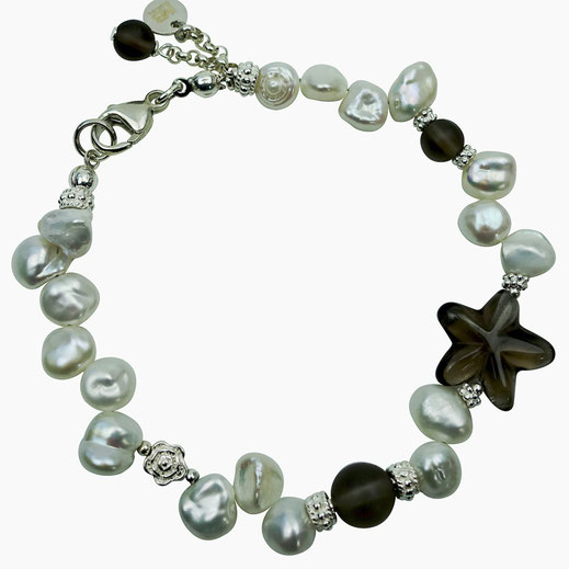 Damen-Armband Glaskristaller weiß, Herz Sterlingsilber 24 Karat vergoldet