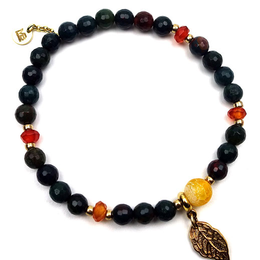 Damen-Armband Blutjaspis oder Heliotrop, Achate, Carneol, Silber 925 vergoldet