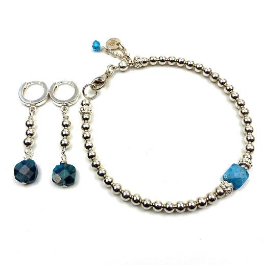 Schmuck-Set Armband und Ohrringe, Silber 925, Apatit