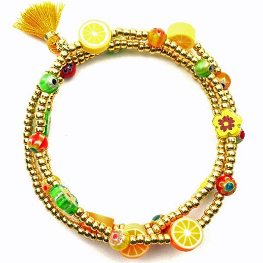 Schmuck-Set Halskette und Armband Rocailles dunkels Mauve Süßwasserzuchtperlen