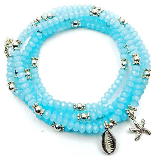 Damen-Armband-Set, Glaskritalle hellblau, Zwischenperlen und Anhänger Sterlingsilber