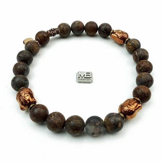 Männerarmband aus Bronzit, Buddhas und Rondelle aus Hämatit