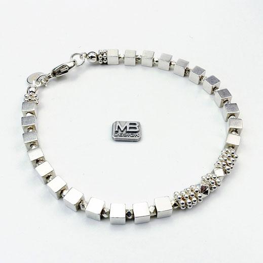 Damen-Armband , Silberwürfel Sterlingsilber