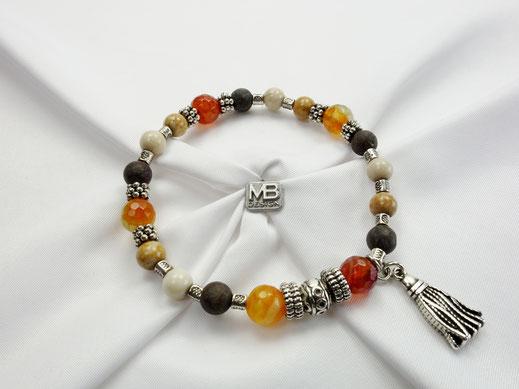 Damen-Armband mit Jadeperlen,  Achaten und Metall-Quaste DQ, multicolor Naturfarben