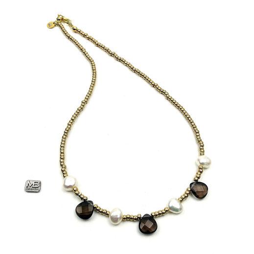 Lange Halskette, Rocailles gelbgoldfarben, Rauchquarztropfen, Süßwasserzuchtperlen, Silber 925 vergoldet