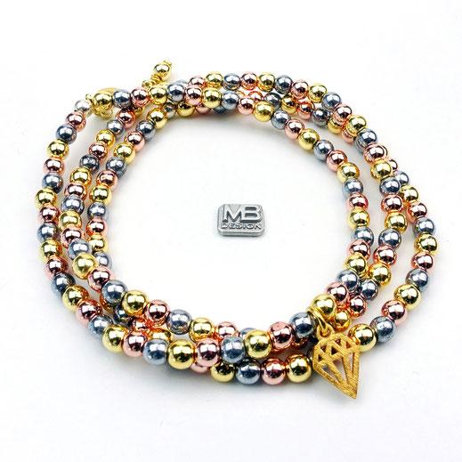 Damen-Armband-Set, Hämatit tricolor in gold, roségold und grau