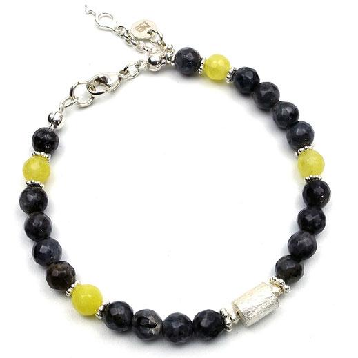 Exklusives Damen-Armband Larvikit, Achate gelb, Siler 925