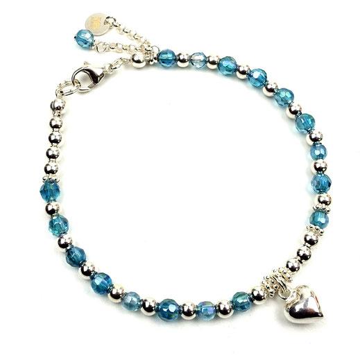 Damen-Armband , Bergkristall, Silberherz, Sterlingsilber