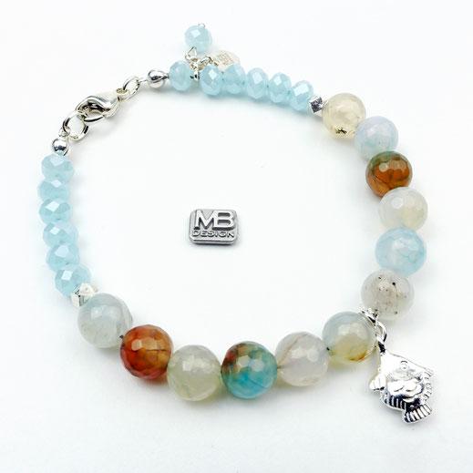 Damen-Armband mit Achaten, Glaskristallen und Seestern aus Silber 925