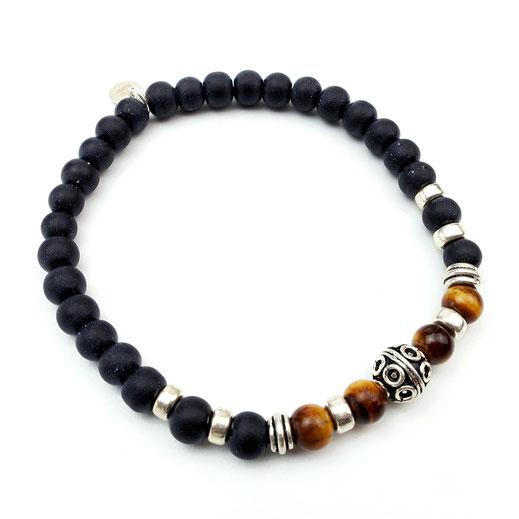 Männer-Armband Onyx mit Tigerauge und Silber925-Perlen