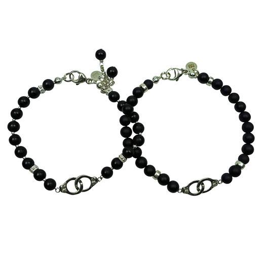 Partnerlook Armbänder, Partnerarmbänder, Onyx, Kleeblatt alsGlückssymbol, Silber 925