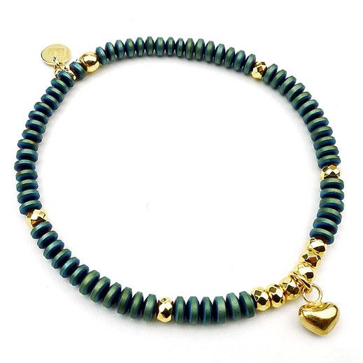 Damen-Armband aus Hämatit grün, Silber 925 vergoldet