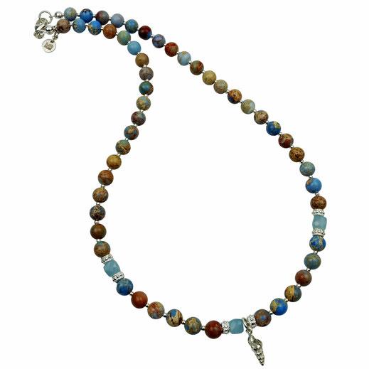 86544623172 Halskette, Impression Jaspis, Aquamarine, Silber 925