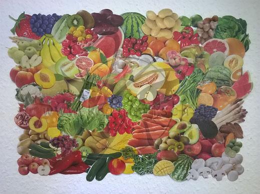 Collage: Obst und Gemüse